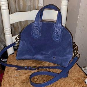OrYANY blue suede dome satchel shoulder bag